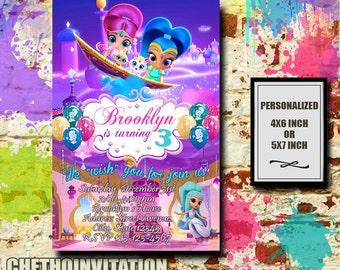 Shimmer And Shine Invitation / Shimmer And Shine Birthday / Shimmer And Shine Birthday Invitation / Shimmer And Shine Party Invitation
