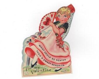 1930s Valentine's Day card. Sweet Seniorita. Mechanical moving pull-tab greeting card. Collectible ephemera.