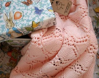 Hand knit pink baby blanket - diamond pattern, cellular blanket, cotton blanket