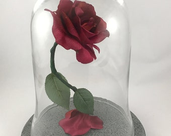 Beauty and the Beast Rose, Enchanted Rose, Magenta Rose, Pink Rose, Wedding Centerpiece, Life Size Rose, Light Up Flower, Glass Dome