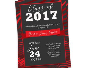 Graduation Party Invitation Red, Red Graduation Invitation Printable, Graduation Invitation Red, Red Graduation Party Invite