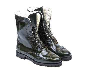 Women Handmade Combat Ankle Leather Boots in Polished Green Leather - Hunter Green Polished Leather