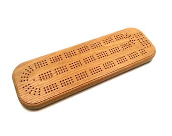 Cribbage Board - 3 Track - Natural White Oak - With Pegs
