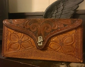 Handtooled leather purse