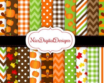 Buy 2 Get 1 Free-20 Digital Papers. Turkeys and Pumpkin for Thanksgiving (2G no 2) for Personal Use and Small Commercial Use Scrapbooking