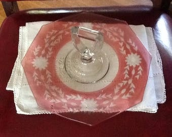 Vintage Pink Glass Serving Platter with Center Handle