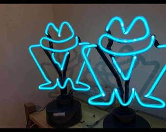 Affordable neon signs, 12v neon, neon in a stand, bedside neon, table lamp neon, bespoke neon