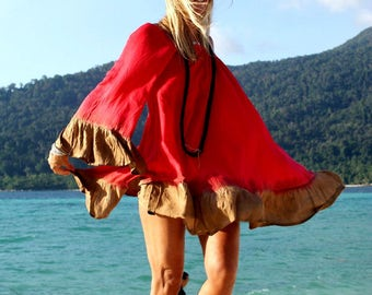 Backless Summer Dress, Flare Mini Dress, One Size, Backless Cover Up, Gipsy Hippie Dress, Ibiza Beach Dress, Festival, Red, Green, Festival