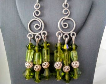 Handcrafted Sterling Silver Peridot Chandelier and Swarovski Crystal Earrings