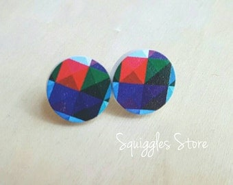 Hypoallergenic Stud Earrings with Titanium Posts - Red Blue Green Geometric -Sensitive Ears