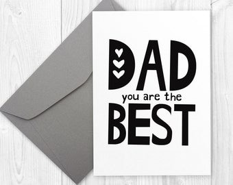 Happy Birthday printable card for father - Dad you are THE BEST - Father's Day Card, Minimalist Dad Birthday Card, black and white card