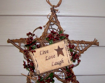 "Live Love Laugh Country Primitive Rust Star 10"" Wreath~BERRIES~Burlap wall sign"