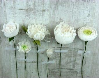 Handmade White Paper Flowers - Various Types