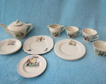 Wonderful Art Deco Child's Nursery Rhyme/Motto Decorated Tea Set