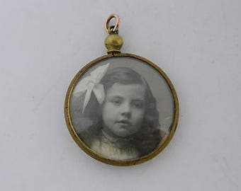 Stunning Edwardian Brass Double Sided Photo Pendant Fob