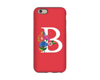 Floral iPhone Case, Monogram iPhone6 Case,  Gift for Mom, Sister, Bridesmaid, Floral iPhone 5S Case, iPhone 7 Case, iPhone 6 Plus Case
