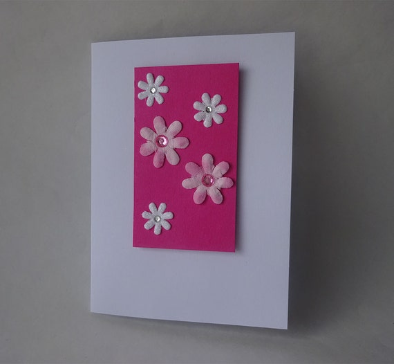 Sale! Valentine's Card - Handmade Card with Flowers - G2