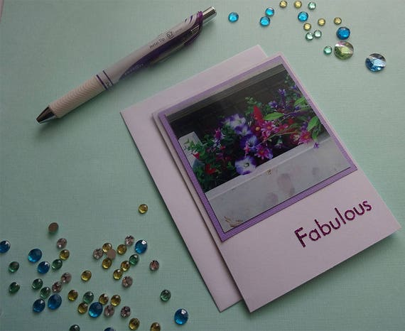 "Mother's Day Card - Pink and Purple Flowers in a Planter with the Word ""Fabulous"" - #452"