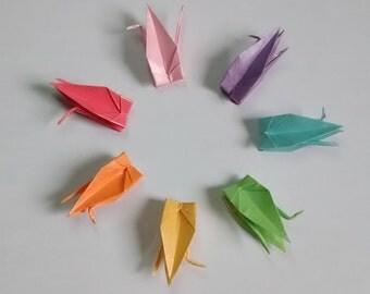 100 (1.7'') Origami Paper Cranes (Metallic)