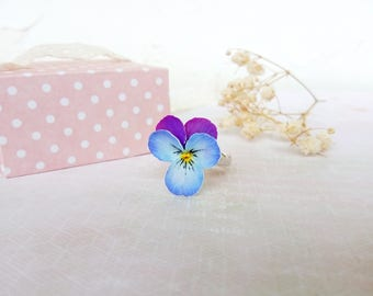Pansy ring violet ring Flower Floral ring Blue purple Pansy floral jewelry Every day For girl For woman Gorgeous Polymer Clay flower