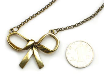 Bow Necklace Vintage Gold