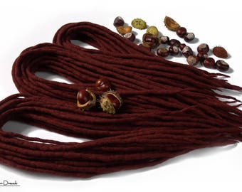 "Wool Dreadlocks Dreads "" Gold Chestnut "" Double Ended"