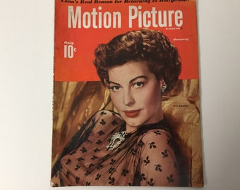 Motion Picture Magazine January 1950 - Cover Ava Gardner - Vintage Movie Magazine - Inside Montgomery Clift & Spencer Tracy