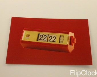 Flipclock Flip Clock postal card postcard, unique, made by me! Copal Model 227