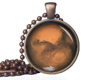 Mars Necklace - Mars Pendant - Red Planet - Mars Glass Pendant - Planet Mars Necklace - Mars Jewelry - Mars
