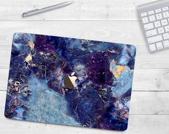 Dark Blue Marble Case Macbook Air 11 Air 13 Hard Case Macbook Pro 13 15 Touch Bar Marble Case Macbook 12 Gold Blue Marble Pro Retina Macbook