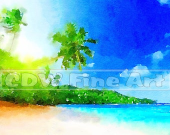 Mahe Island, Seychelles Sunset - Limited Edition Print of my original Water Colour Painting