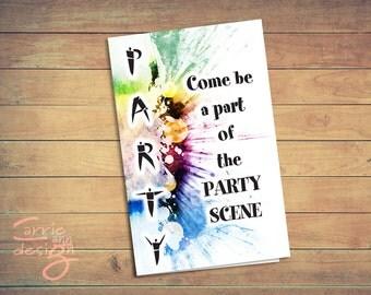 Party Scene Invitation bi-fold Brithday,