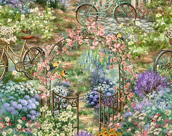 Scenic Flower Garden,w/Bicycle and archway, Timeless Treasures