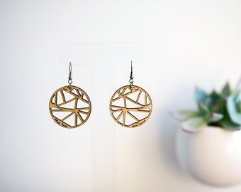 Geometric Cutout Wooden Earrings