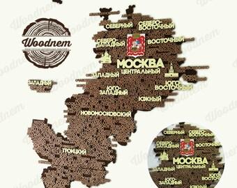 3D карта Московского региона из дерева. Wooden map