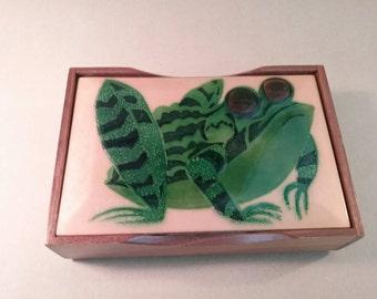 Annemarie Davidson enamel Frog design box for jewelry, cards, cigarettes, desk. Vintage 70s mod