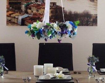 Hanging flower wreath wedding centrepiece - blue, silver and purple