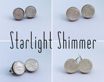 Starlight Shimmer Round Resin/Bamboo Earrings - various styles & bails • studs • clip ons • drop • dangles • surgical steel • silver plated
