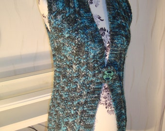 Evergreen long vest turquoise green knit sweater vest