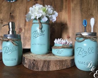 mason jar bathroom set, bathroom set, bathroom decor, farmhouse, rustic decor, country decor, toothbrush holder, soap pump, soap dispenser