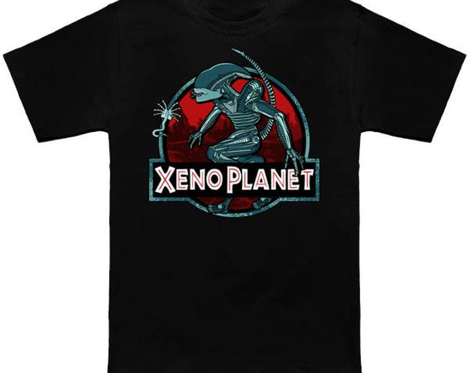 XENO PLANET Geek T-Shirt Aliens Covenant Jurassic Park Mash Up Alien Sci Fi Shirt Nerd Pop Culture Xenomorph Ripley Prometheus Face Hugger