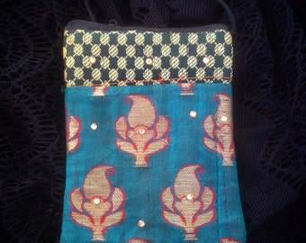 Teal paisley purse