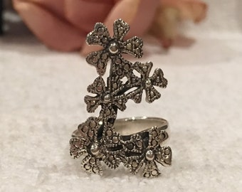 Absolutely Amazing & Substantial Sterling SILVER Large FRONTED FLOWER Ring-Beautiful Long Spray of Flowers-Uk Size O -Us 7 - 6.18 grams