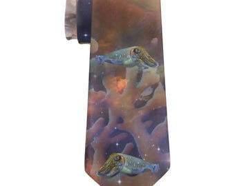 Cuttlefish In Space Galaxy All Over Neck Tie