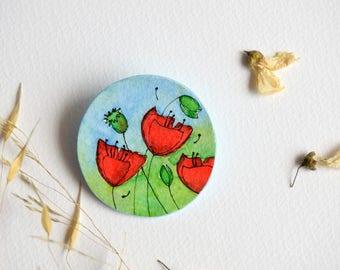 "Poppies brooch, handpainted brooch, paper jewellery, flower brooch ""Poppy's Hapiness"", handmade jewells, gift for her"