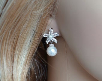 Rhodium,Yellow or Rose Gold Handmade Cubic Zirconia CZ Starfish & Pearl Dangle Bridal Earrings (Pearl-790)
