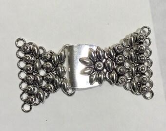 Sterling silver bali muti strand clasp