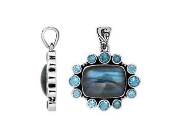 Labrorite blue topaz  sterling silver pendant