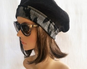 Beret woman / prince de galles beret / reversible beret / double-sided Hat / Hat two in one.