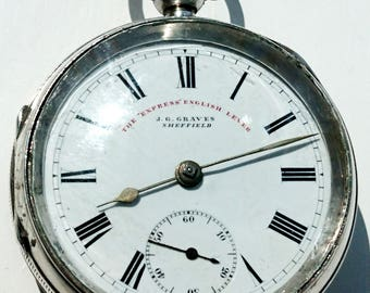 Lovely 1899 J G Graves large solid silver pocket watch